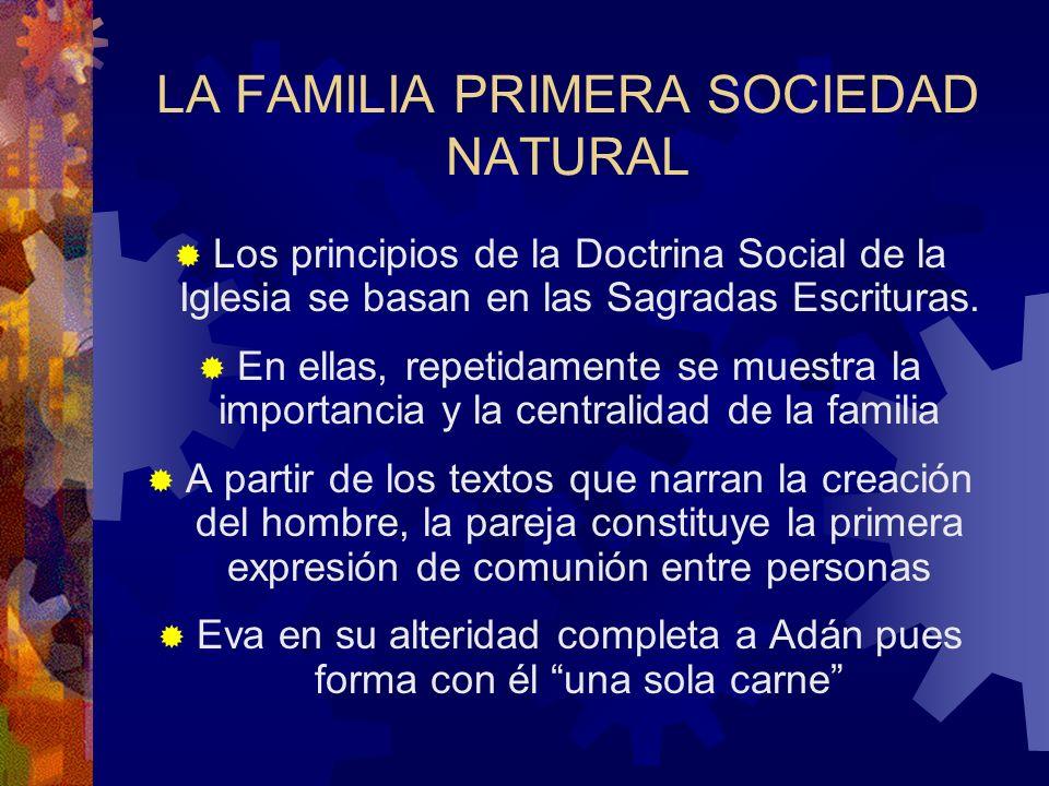 LA FAMILIA PRIMERA SOCIEDAD NATURAL Los principios de la Doctrina Social de la Iglesia se basan en las Sagradas Escrituras. En ellas, repetidamente se