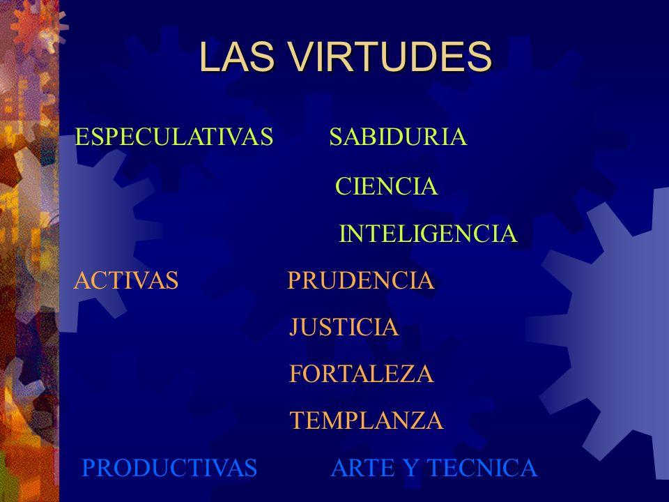 LAS VIRTUDES ESPECULATIVAS SABIDURIA CIENCIA INTELIGENCIA ACTIVAS PRUDENCIA JUSTICIA FORTALEZA TEMPLANZA PRODUCTIVAS ARTE Y TECNICA