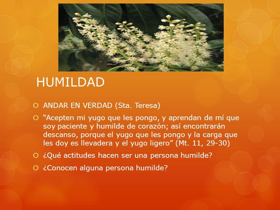 HUMILDAD ANDAR EN VERDAD (Sta. Teresa) Acepten mi yugo que les pongo, y aprendan de mí que soy paciente y humilde de corazón; así encontrarán descanso