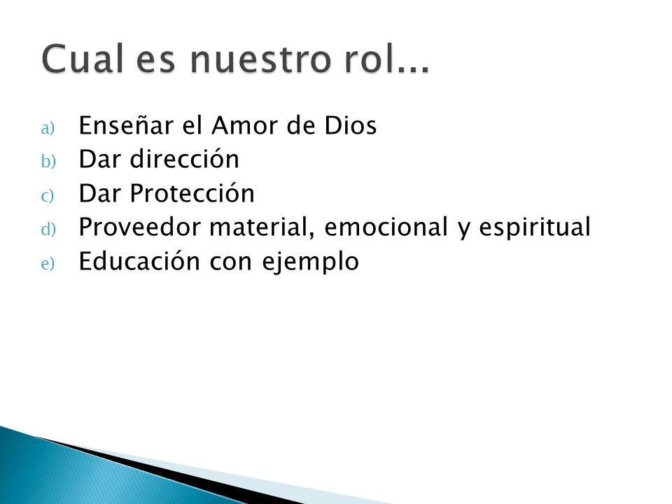 a) Enseñar el Amor de Dios b) Dar dirección c) Dar Protección d) Proveedor material, emocional y espiritual e) Educación con ejemplo