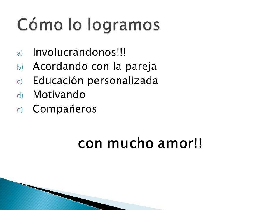 a) Involucrándonos!!! b) Acordando con la pareja c) Educación personalizada d) Motivando e) Compañeros con mucho amor!!