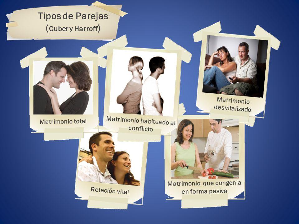 ( Cuber y Harroff Relación vital Matrimonio que congenia en forma pasiva Matrimonio total Matrimonio desvitalizado Matrimonio habituado al conflicto T