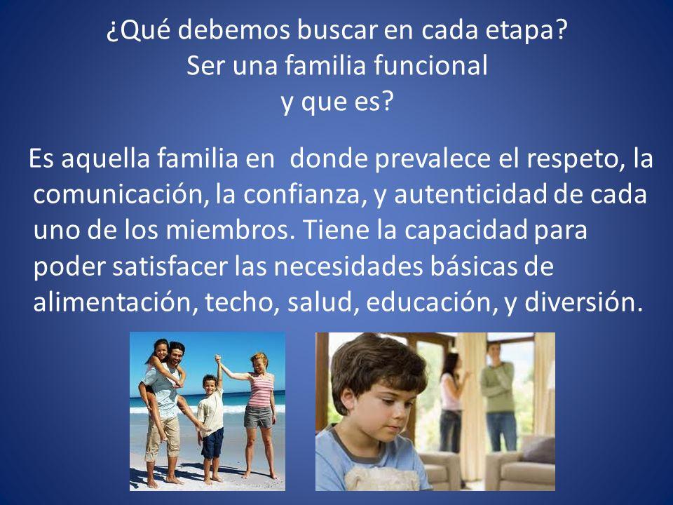 ¿Qué debemos buscar en cada etapa? Ser una familia funcional y que es? Es aquella familia en donde prevalece el respeto, la comunicación, la confianza