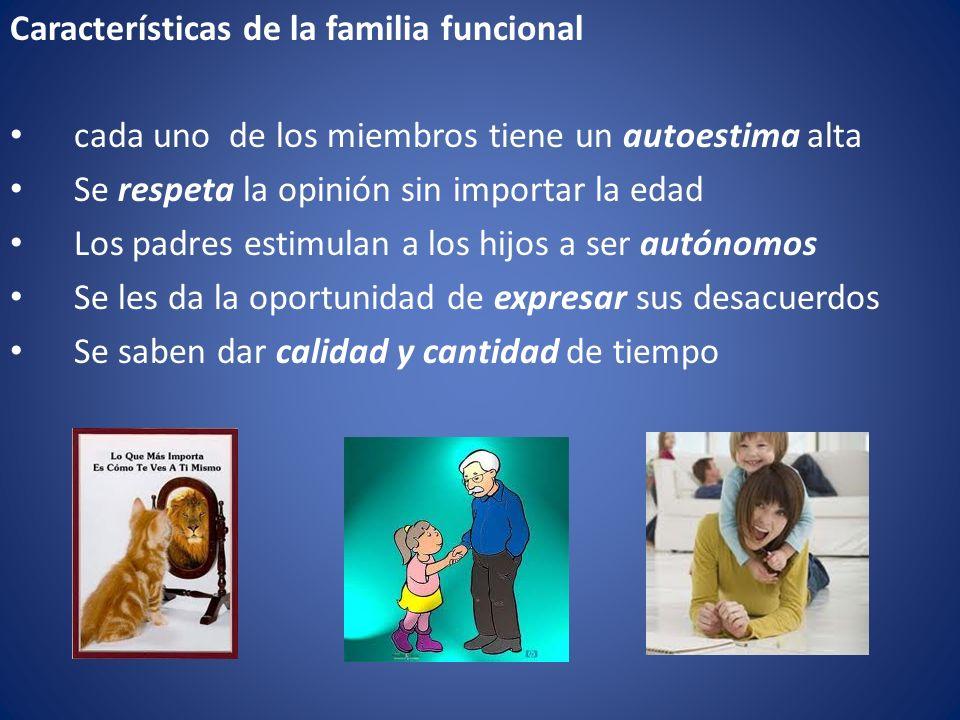 Características de la familia funcional cada uno de los miembros tiene un autoestima alta Se respeta la opinión sin importar la edad Los padres estimu