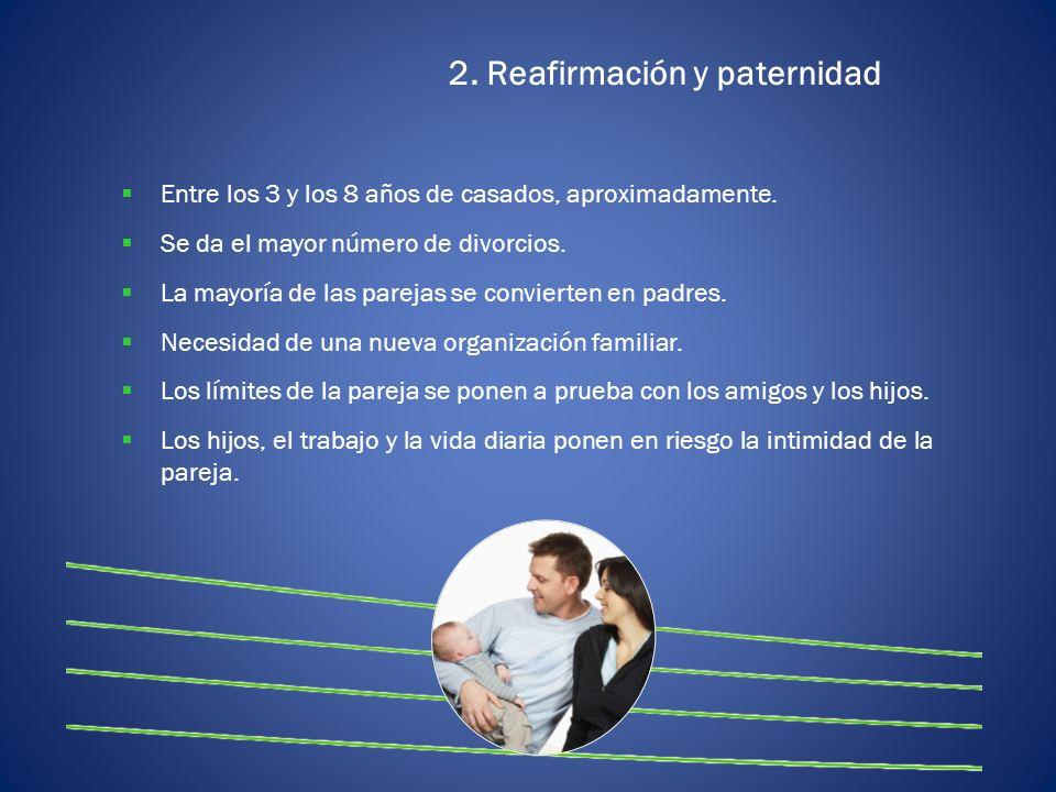 2. Reafirmación y paternidad Entre los 3 y los 8 años de casados, aproximadamente. Se da el mayor número de divorcios. La mayoría de las parejas se co