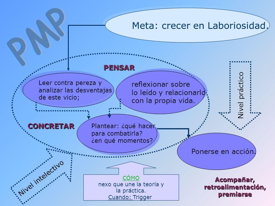 Meta: crecer en Laboriosidad. PENSAR CONCRETAR Leer contra pereza y analizar las desventajas de este vicio; Leer contra pereza y analizar las desventa