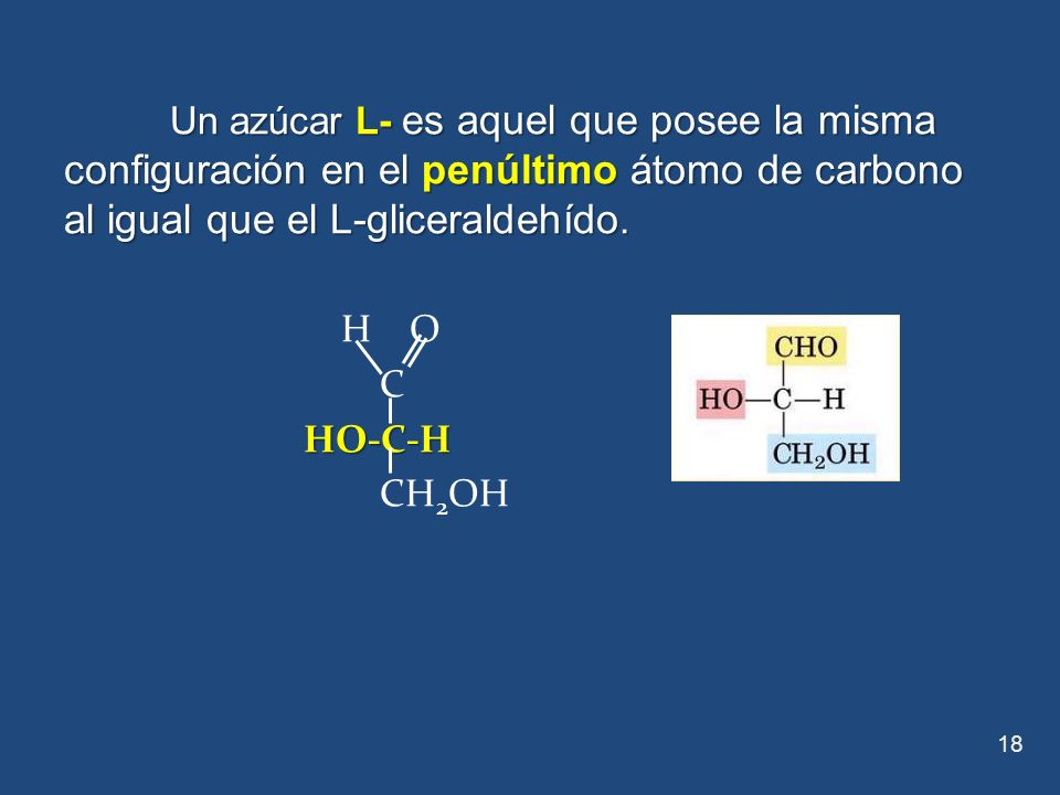 Un azúcar L- es aquel que posee la misma configuración en el penúltimo átomo de carbono al igual que el L-gliceraldehído. H O C HO-C-H HO-C-H CH 2 OH