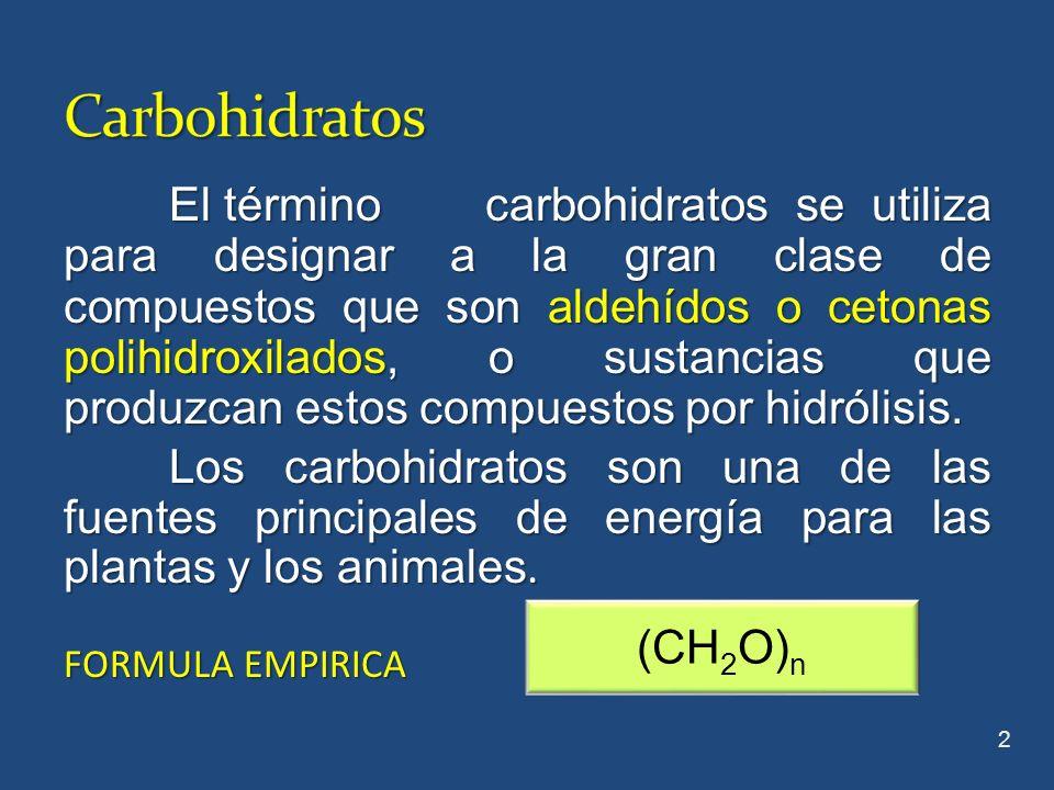 El término carbohidratos se utiliza para designar a la gran clase de compuestos que son aldehídos o cetonas polihidroxilados, o sustancias que produzc