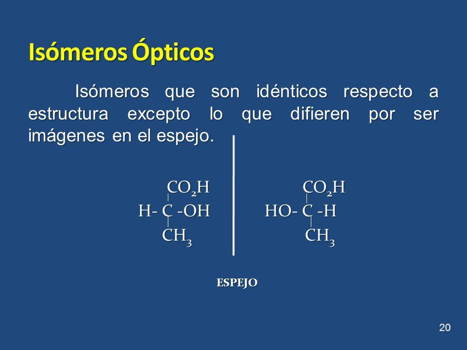 Isómeros que son idénticos respecto a estructura excepto lo que difieren por ser imágenes en el espejo. CO 2 H CO 2 H CO 2 H CO 2 H H- C -OH HO- C -H
