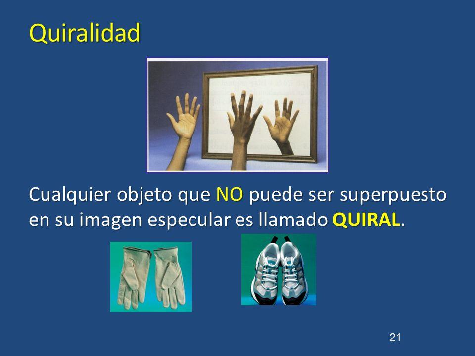 Cualquier objeto que NO puede ser superpuesto en su imagen especular es llamado QUIRAL. 21