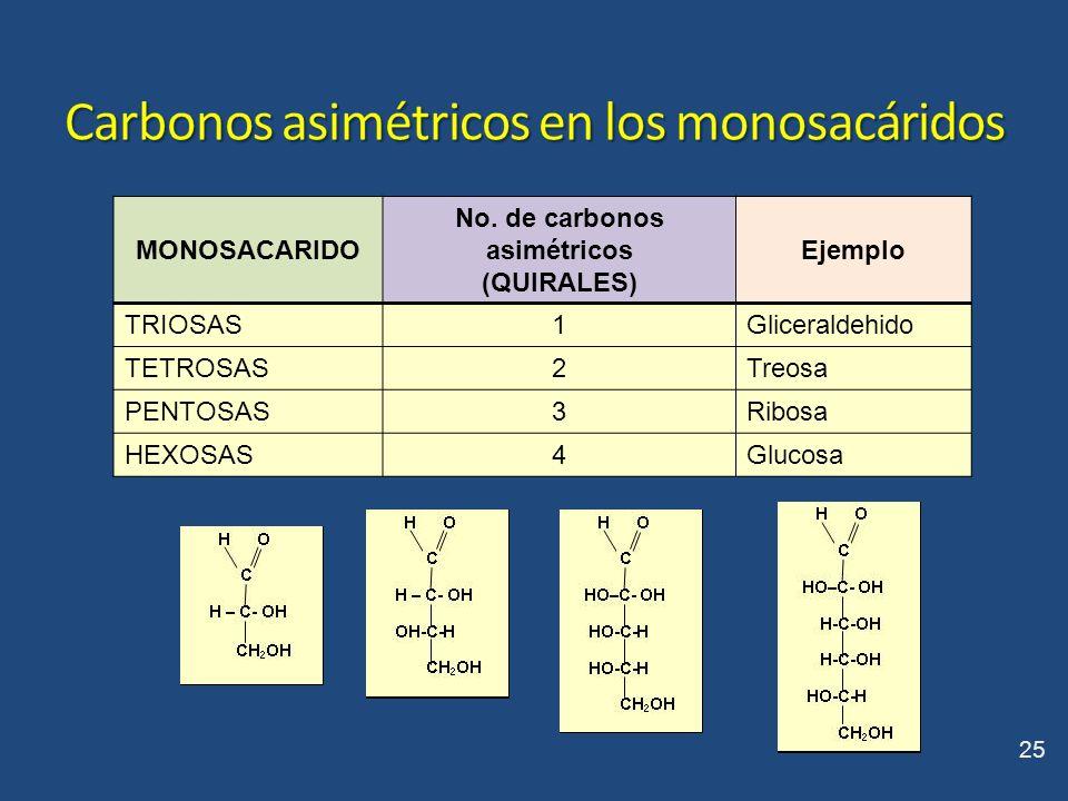 MONOSACARIDO No. de carbonos asimétricos (QUIRALES) Ejemplo TRIOSAS1Gliceraldehido TETROSAS2Treosa PENTOSAS3Ribosa HEXOSAS4Glucosa 25