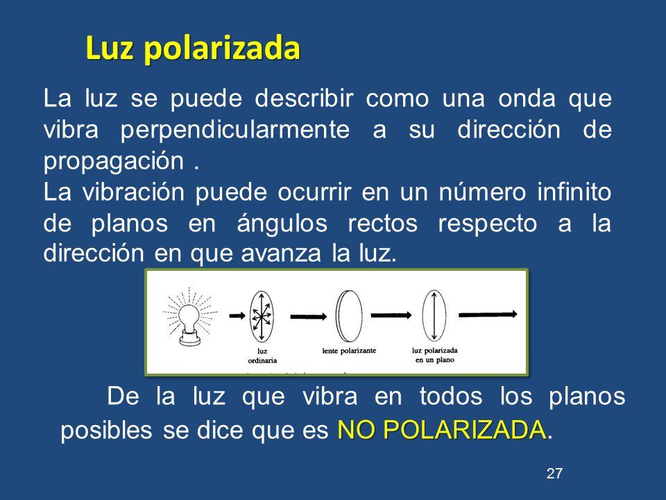 NO POLARIZADA De la luz que vibra en todos los planos posibles se dice que es NO POLARIZADA. 27 La luz se puede describir como una onda que vibra perp