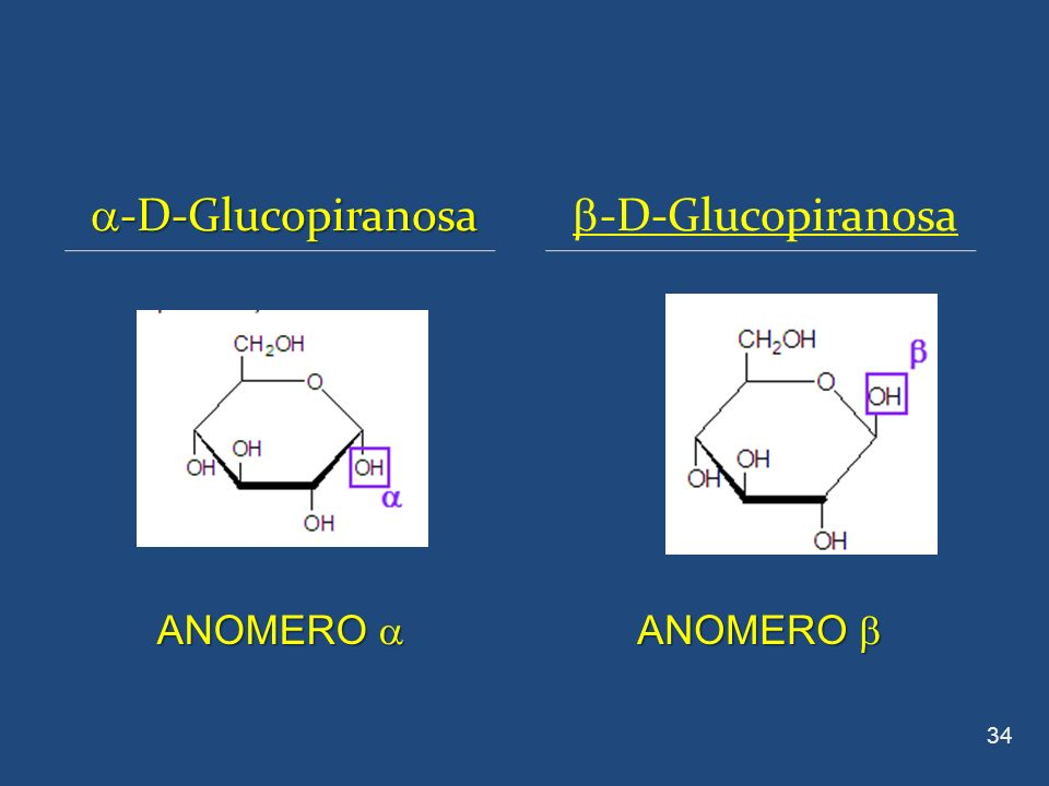 -D-Glucopiranosa -D-Glucopiranosa -D-Glucopiranosa 34 ANOMERO ANOMERO