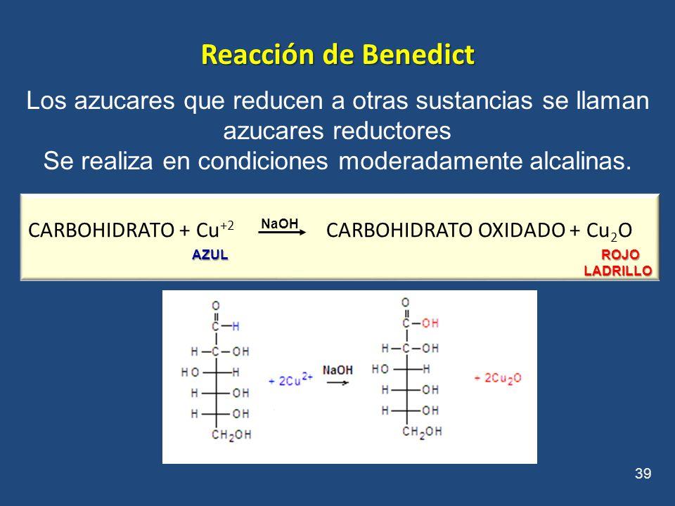 Reacción de Benedict Los azucares que reducen a otras sustancias se llaman azucares reductores Se realiza en condiciones moderadamente alcalinas. 39 C