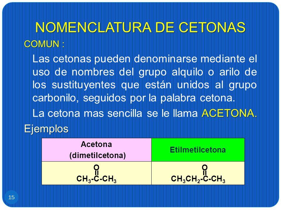 NOMENCLATURA DE CETONAS 15 COMUN : Las cetonas pueden denominarse mediante el uso de nombres del grupo alquilo o arilo de los sustituyentes que están