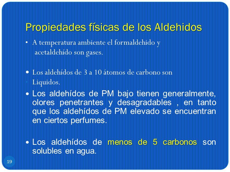 Propiedades físicas de los Aldehidos A temperatura ambiente el formaldehido y acetaldehído son gases. Los aldehídos de 3 a 10 átomos de carbono son Li
