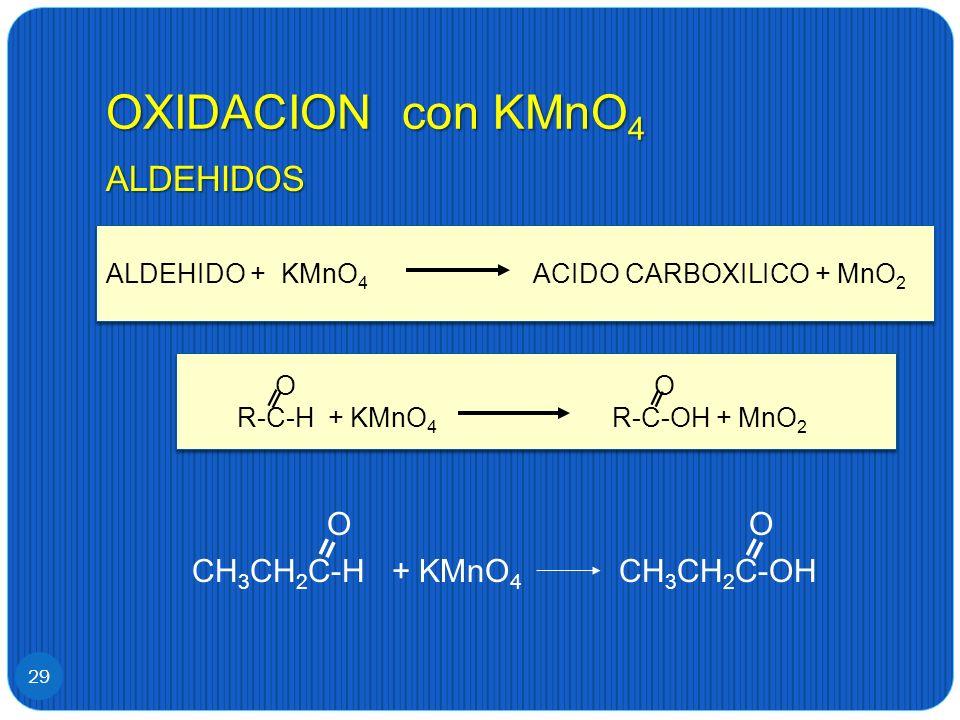 OXIDACION con KMnO 4 29 ALDEHIDOS O O CH 3 CH 2 C-H + KMnO 4 CH 3 CH 2 C-OH ALDEHIDO + KMnO 4 ACIDO CARBOXILICO + MnO 2 O O R-C-H + KMnO 4 R-C-OH + Mn