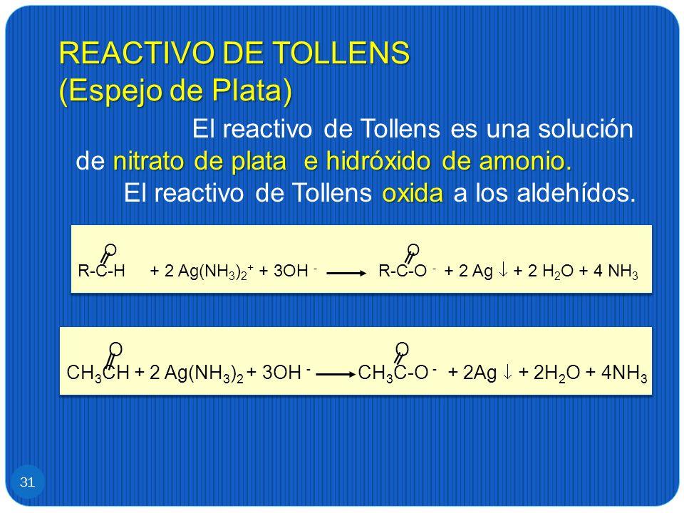 REACTIVO DE TOLLENS (Espejo de Plata) 31 nitrato de plata e hidróxido de amonio. oxida El reactivo de Tollens es una solución de nitrato de plata e hi