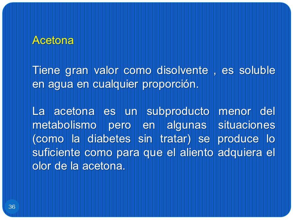 Acetona Tiene gran valor como disolvente, es soluble en agua en cualquier proporción. La acetona es un subproducto menor del metabolismo pero en algun