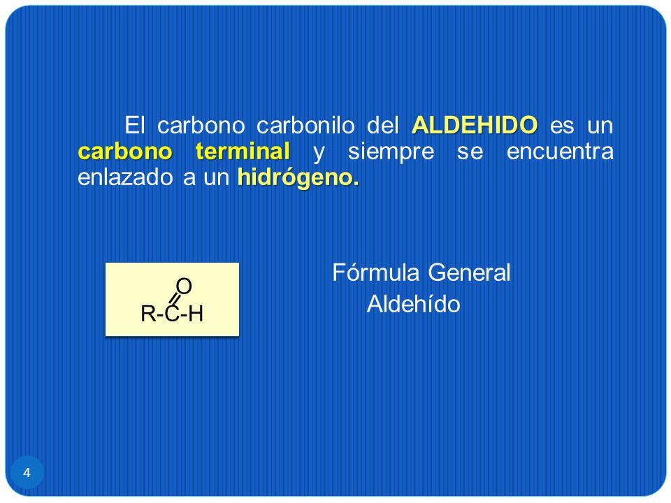 4 ALDEHIDO carbono terminal hidrógeno. El carbono carbonilo del ALDEHIDO es un carbono terminal y siempre se encuentra enlazado a un hidrógeno. Fórmul