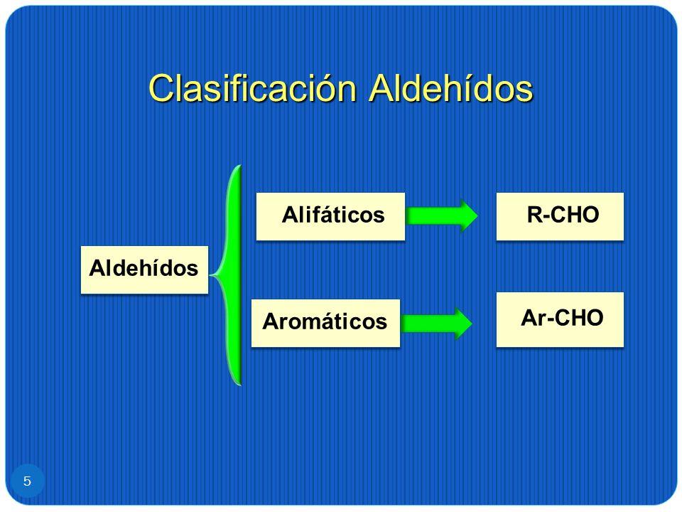 Clasificación Aldehídos 5 R-CHO Ar-CHO Alifáticos Aromáticos Aldehídos