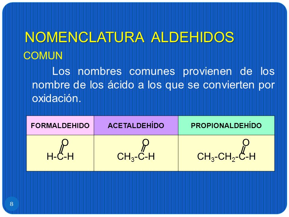 NOMENCLATURA ALDEHIDOS 8 COMUN Los nombres comunes provienen de los nombre de los ácido a los que se convierten por oxidación. FORMALDEHIDOACETALDEHÍD