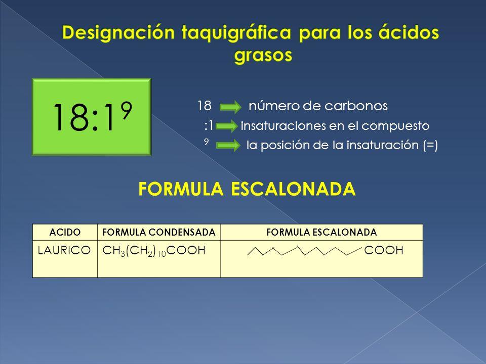 18 número de carbonos :1 insaturaciones en el compuesto 9 la posición de la insaturación (=) 18:1 9 FORMULA ESCALONADA ACIDOFORMULA CONDENSADAFORMULA
