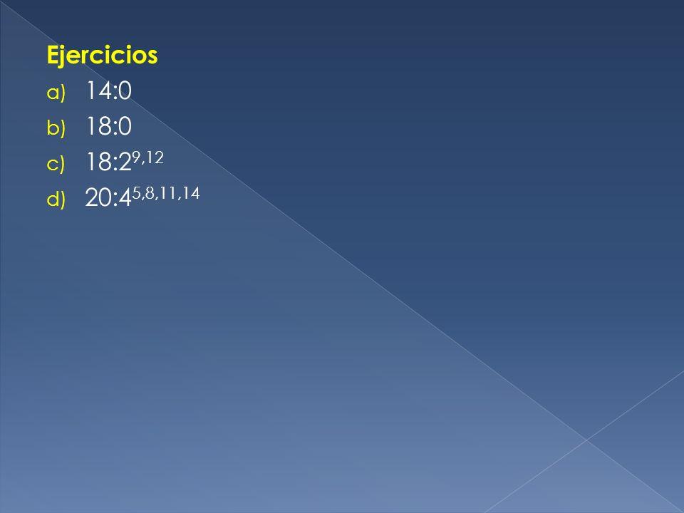 Ejercicios a) 14:0 b) 18:0 c) 18:2 9,12 d) 20:4 5,8,11,14
