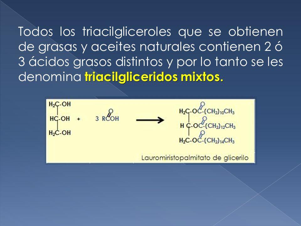 triacilgliceridos mixtos. Todos los triacilgliceroles que se obtienen de grasas y aceites naturales contienen 2 ó 3 ácidos grasos distintos y por lo t
