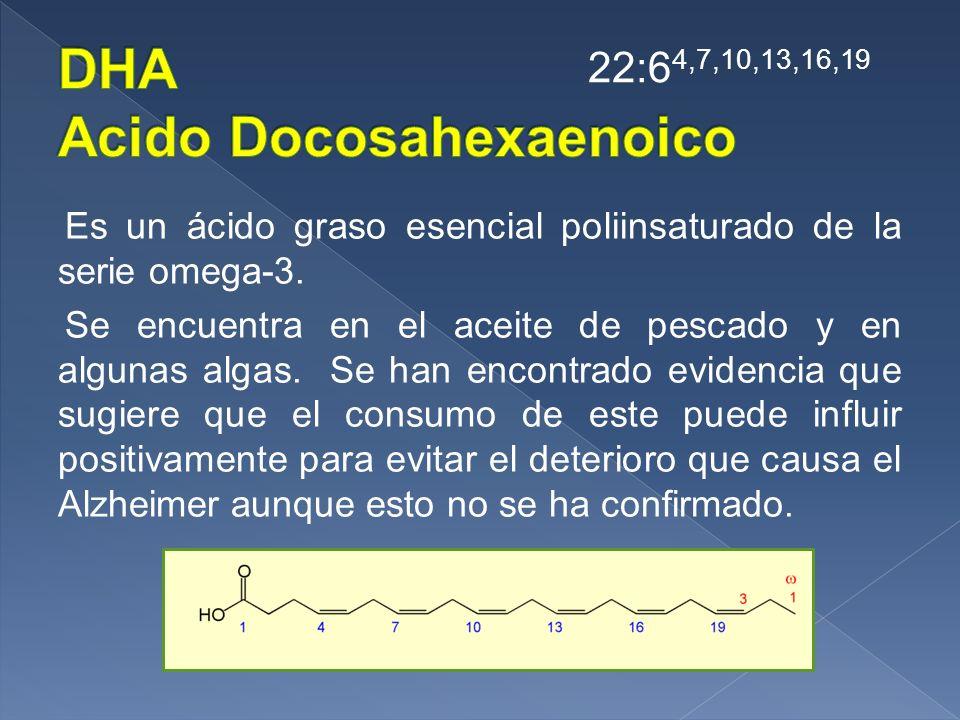 Es un ácido graso esencial poliinsaturado de la serie omega-3. Se encuentra en el aceite de pescado y en algunas algas. Se han encontrado evidencia qu