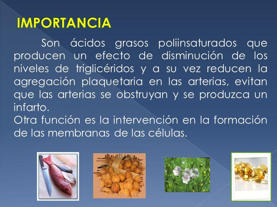 Son ácidos grasos poliinsaturados que producen un efecto de disminución de los niveles de triglicéridos y a su vez reducen la agregación plaquetaria e