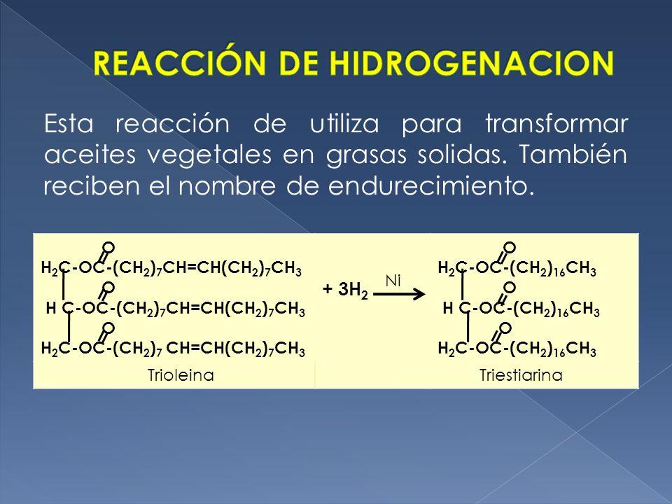 O H 2 C-OC-(CH 2 ) 7 CH=CH(CH 2 ) 7 CH 3 O H C-OC-(CH 2 ) 7 CH=CH(CH 2 ) 7 CH 3 O H 2 C-OC-(CH 2 ) 7 CH=CH(CH 2 ) 7 CH 3 + 3H 2 O H 2 C-OC-(CH 2 ) 16