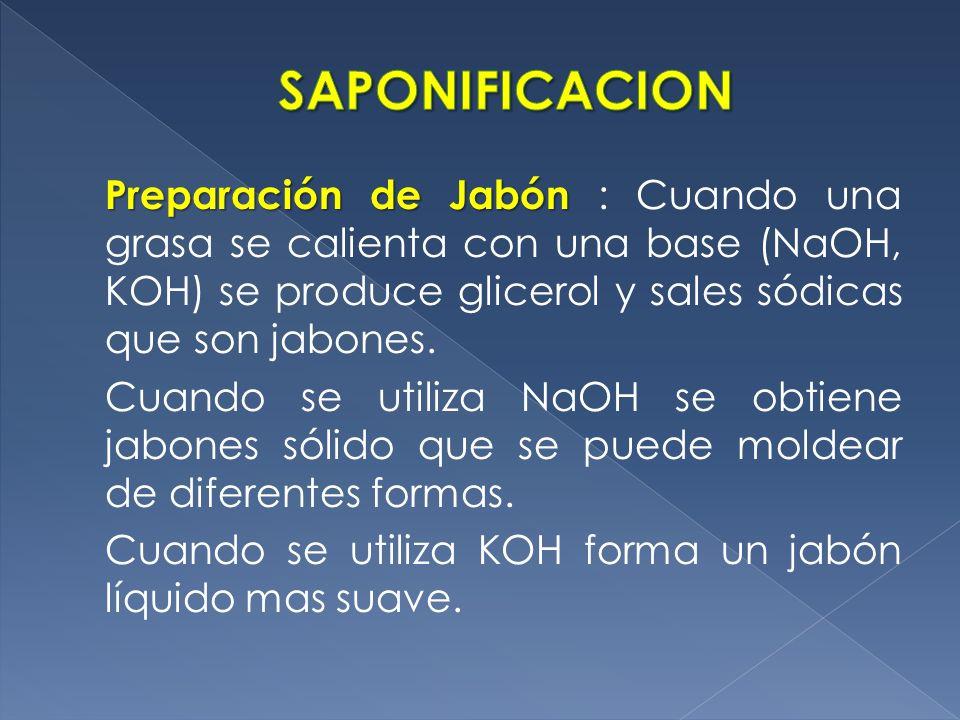 Preparación de Jabón Preparación de Jabón : Cuando una grasa se calienta con una base (NaOH, KOH) se produce glicerol y sales sódicas que son jabones.