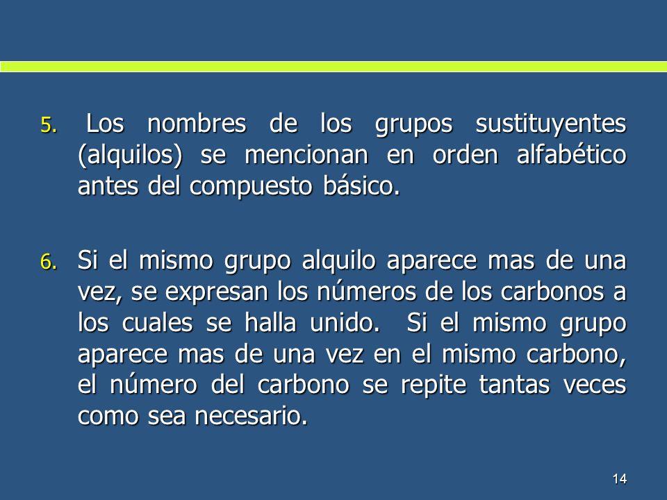 14 5. Los nombres de los grupos sustituyentes (alquilos) se mencionan en orden alfabético antes del compuesto básico. 6. Si el mismo grupo alquilo apa