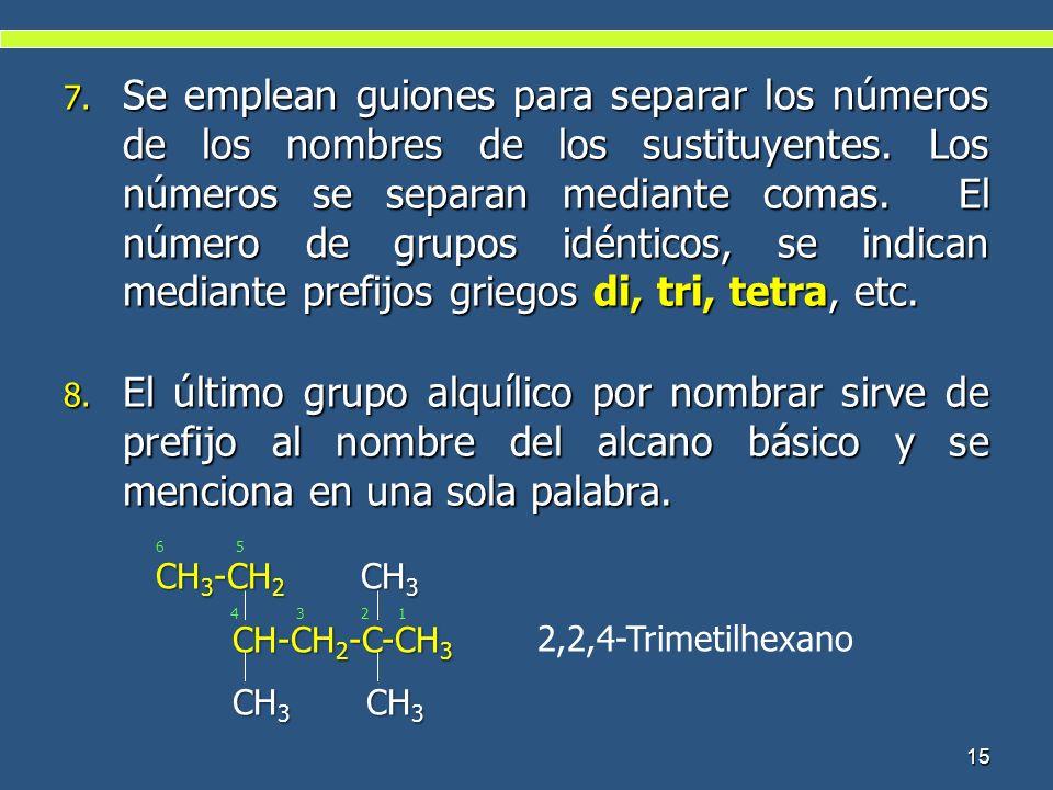 7. Se emplean guiones para separar los números de los nombres de los sustituyentes. Los números se separan mediante comas. El número de grupos idéntic