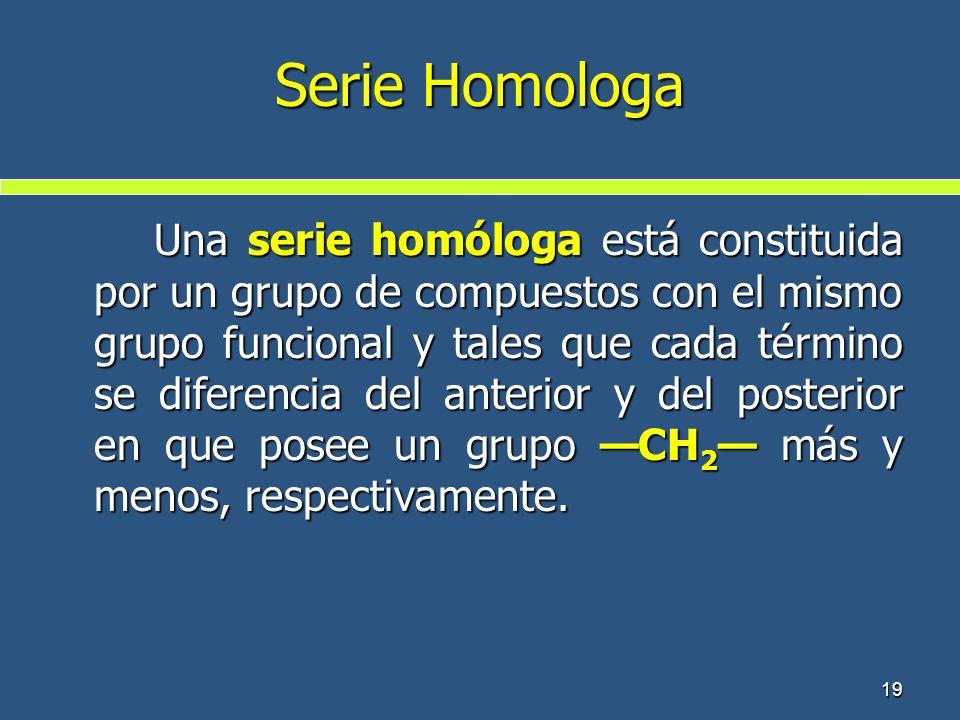 Serie Homologa Una serie homóloga está constituida por un grupo de compuestos con el mismo grupo funcional y tales que cada término se diferencia del