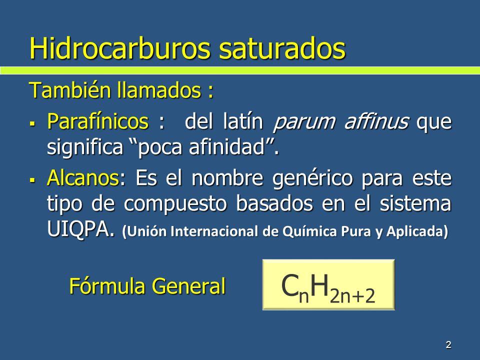 2 Hidrocarburos saturados También llamados : Parafínicos : del latín parum affinus que significa poca afinidad. Parafínicos : del latín parum affinus