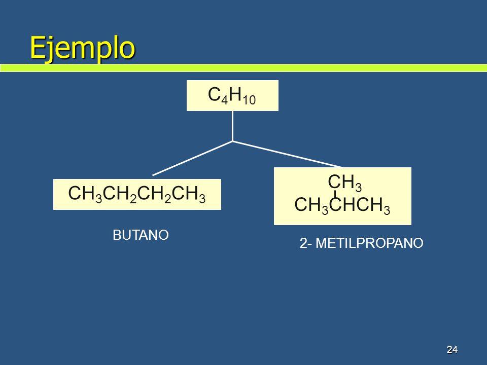 Ejemplo 24 C 4 H 10 CH 3 CH 2 CH 2 CH 3 CH 3 CH 3 CHCH 3 BUTANO 2- METILPROPANO
