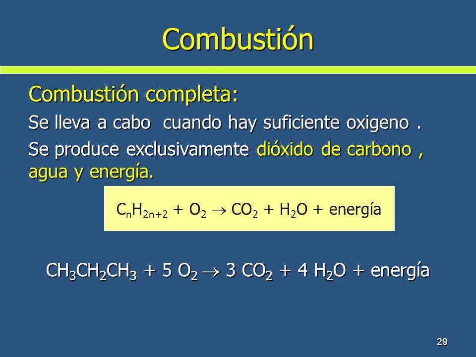 29 Combustión Combustión completa: Se lleva a cabo cuando hay suficiente oxigeno. Se produce exclusivamente dióxido de carbono, agua y energía. CH 3 C