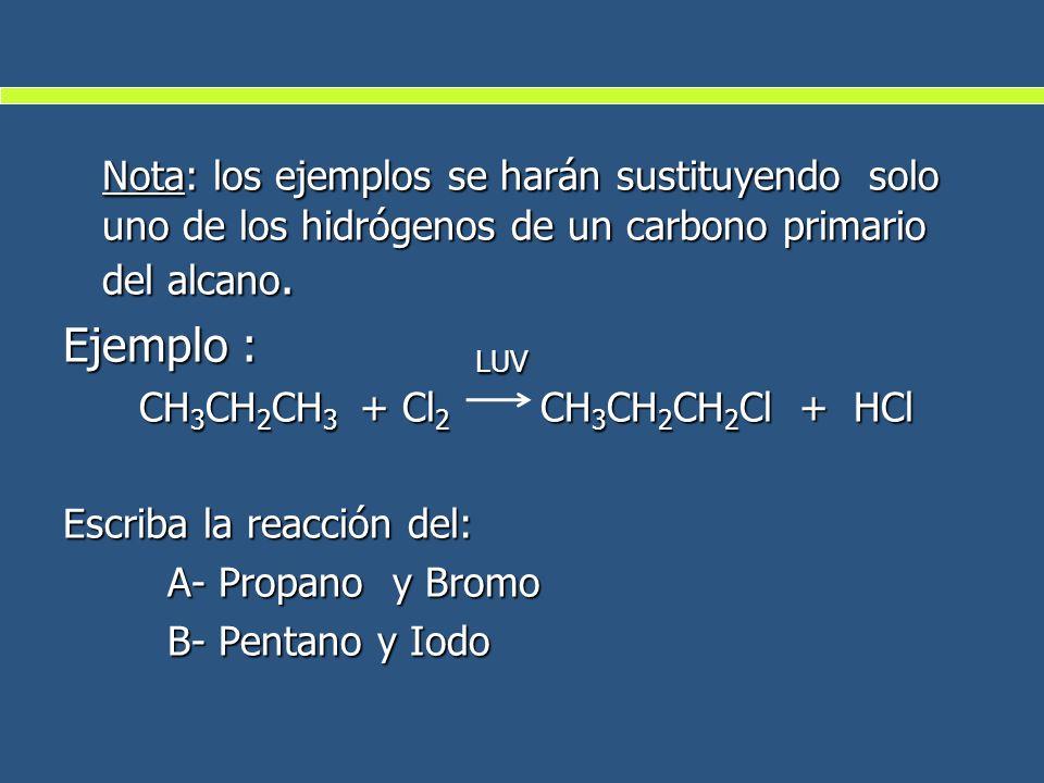Nota: los ejemplos se harán sustituyendo solo uno de los hidrógenos de un carbono primario del alcano. Ejemplo : LUV CH 3 CH 2 CH 3 + Cl 2 CH 3 CH 2 C