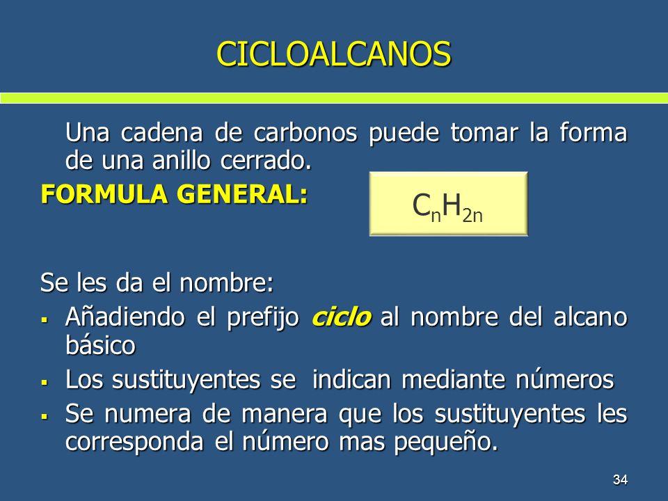 34 CICLOALCANOS Una cadena de carbonos puede tomar la forma de una anillo cerrado. FORMULA GENERAL: Se les da el nombre: Añadiendo el prefijo ciclo al