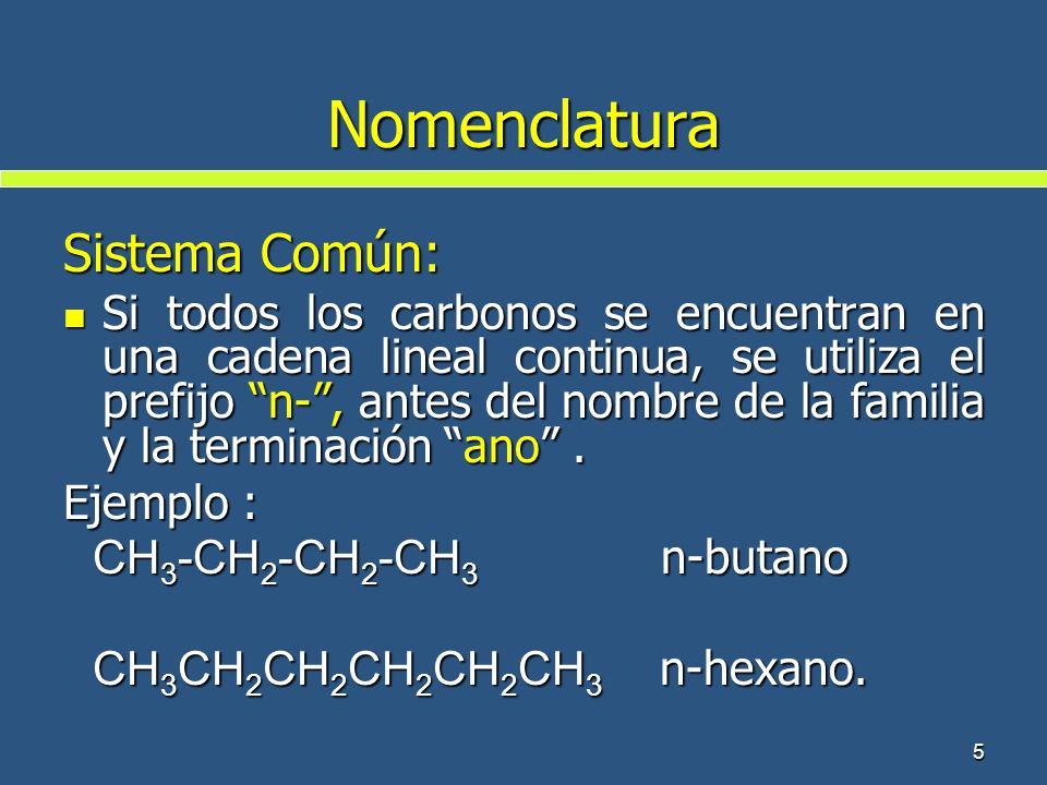 5 Nomenclatura Sistema Común: Si todos los carbonos se encuentran en una cadena lineal continua, se utiliza el prefijo n-, antes del nombre de la fami