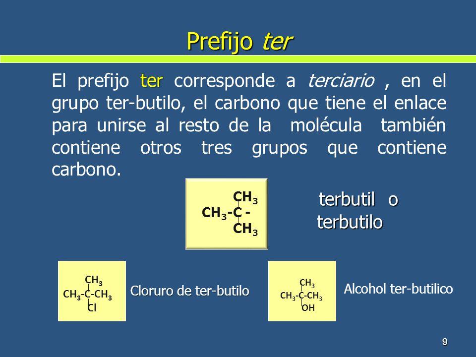 Prefijo ter terbutil o terbutilo terbutil o terbutilo 9 CH 3 CH 3 -C - CH 3 ter El prefijo ter corresponde a terciario, en el grupo ter-butilo, el car