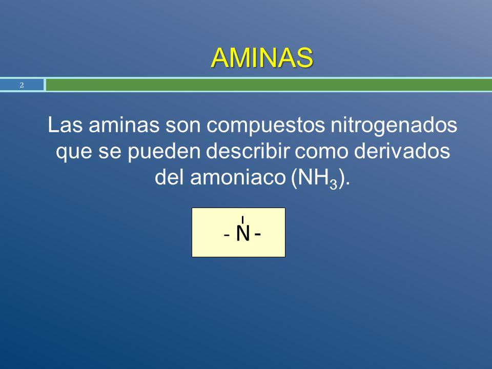 AMINAS Las aminas son compuestos nitrogenados que se pueden describir como derivados del amoniaco (NH 3 ). 2 - N -