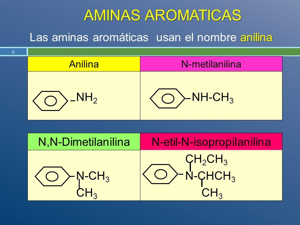 AMINAS AROMATICAS AnilinaN-metilanilina NH 2 NH-CH 3 N,N-DimetilanilinaN-etil-N-isopropilanilina N-CH 3 CH 3 CH 2 CH 3 N-CHCH 3 CH 3 6 anilina Las ami