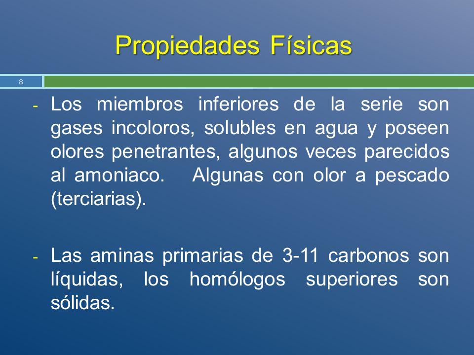 Propiedades Físicas - Los miembros inferiores de la serie son gases incoloros, solubles en agua y poseen olores penetrantes, algunos veces parecidos a