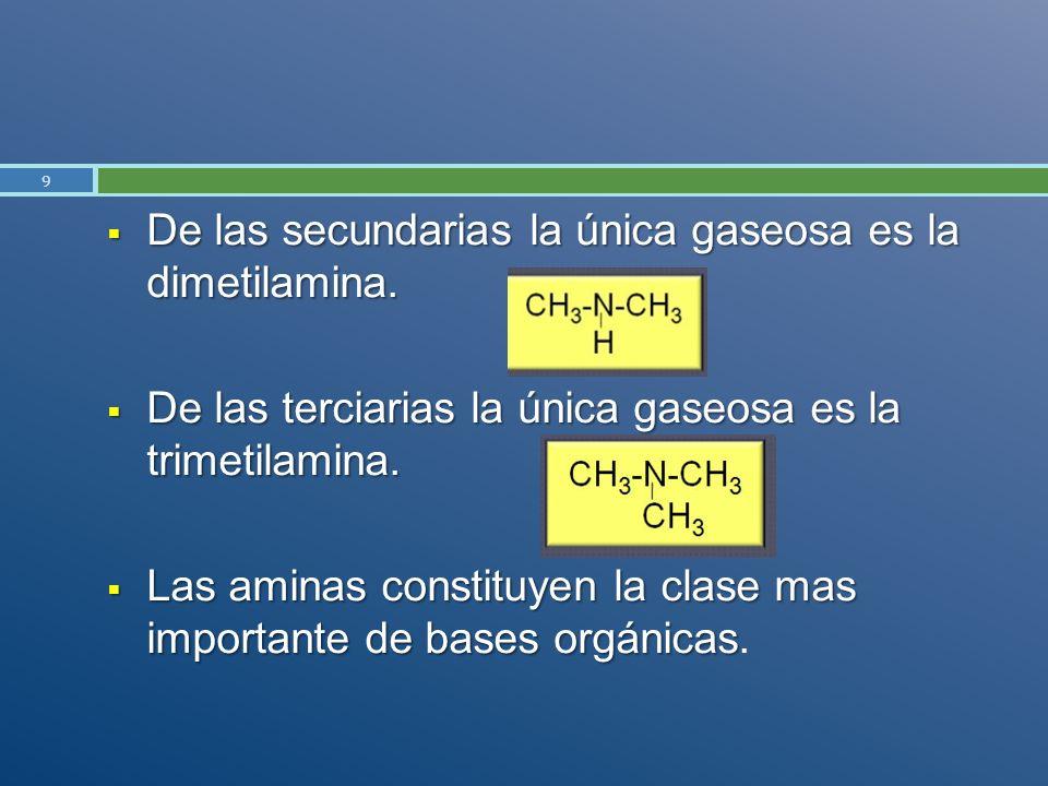 De las secundarias la única gaseosa es la dimetilamina. De las secundarias la única gaseosa es la dimetilamina. De las terciarias la única gaseosa es