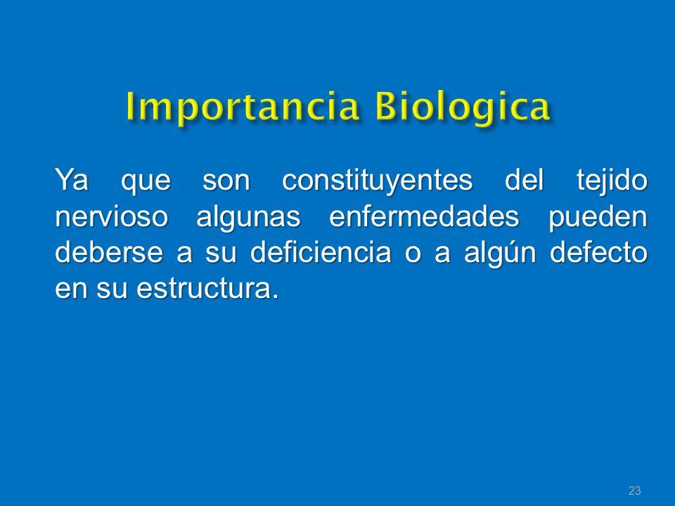Ya que son constituyentes del tejido nervioso algunas enfermedades pueden deberse a su deficiencia o a algún defecto en su estructura. 23