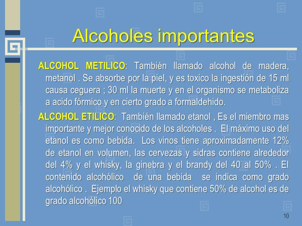 Alcoholes importantes ALCOHOL METILICO : También llamado alcohol de madera, metanol. Se absorbe por la piel, y es toxico la ingestión de 15 ml causa c