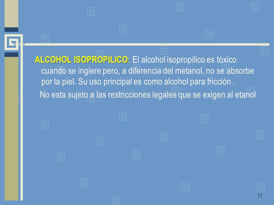 ALCOHOL ISOPROPILICO ALCOHOL ISOPROPILICO : El alcohol isopropilico es tóxico cuando se ingiere pero, a diferencia del metanol, no se absorbe por la p